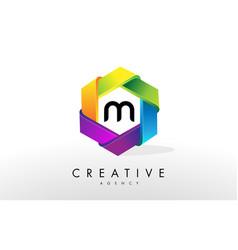 m letter logo corporate hexagon design vector image vector image