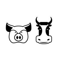 Pig and cow icons Head farm animal stencil Pork vector image vector image