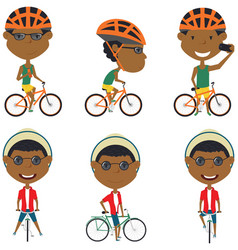 african american bicycle rider boys vector image