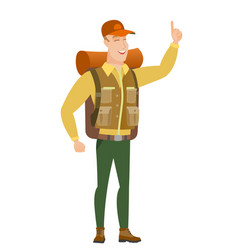 african traveler pointing with his forefinger vector image vector image