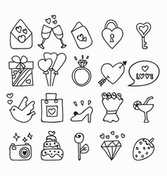 doodle icon set isolated hand drawn vector image vector image