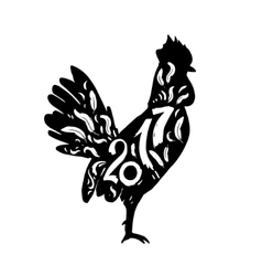 Silhouette rooster 2017 vector image