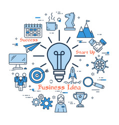 blue business idea lamp concept vector image vector image