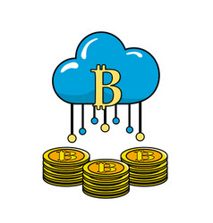 cloud data with bicoin symbol and coins vector image vector image