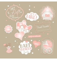 Hello Little Princess Baby Shower Set vector image