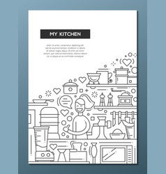 my kitchen - line design brochure poster template vector image vector image