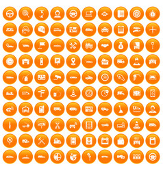 100 auto icons set orange vector image