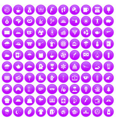 100 coffee cup icons set purple vector
