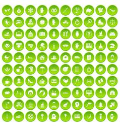 100 joy icons set green circle vector