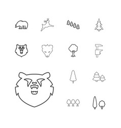 13 forest icons vector