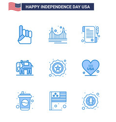9 usa blue pack independence day signs and vector