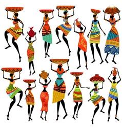 Africa girl set vector