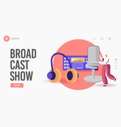 Amateur broadcasting studio landing page template vector
