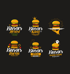 American food logo burger cheeseburger vector