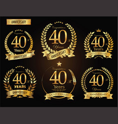 Anniversary golden laurel wreath 40 years vector