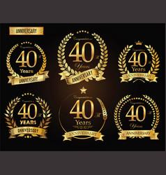 Anniversary golden laurel wreath 40 years vector