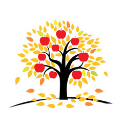 apple tree with yellow and orange leaves vector image