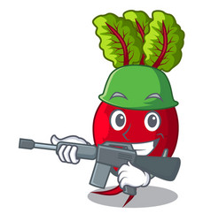 Army cartoon fresh harvested beetroots in wooden vector