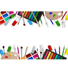 Art tools and materials frame vector