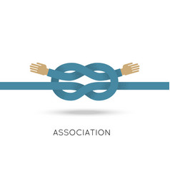Association two hands sea knot flat style vector