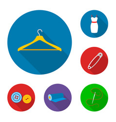 atelier and sewing flat icons in set collection vector image