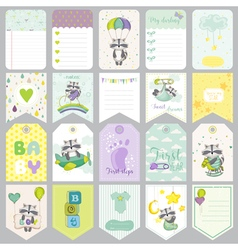 Baby raccoon tags banners scrapbook labels vector