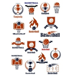Basketball emblems with sports heraldic elements vector image