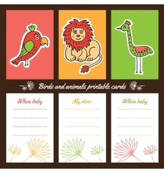 Birds and animals printable cards vector