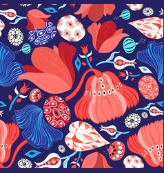 bright windy beautiful pattern of red flowers vector image