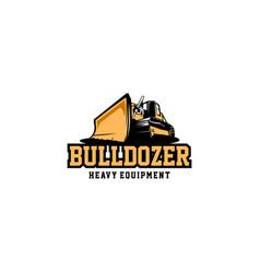 bulldozer heavy equipment logo vector image