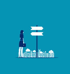 Businesswoman choice with direction concept vector