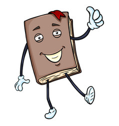 Cartoon character - lively brown book with thumb vector