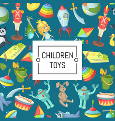 cartoon children toys background with place vector image