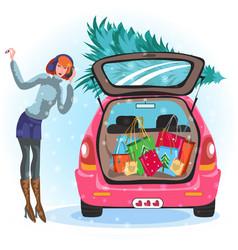 Cartoon girl standing near car with tree vector