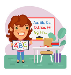 cartoon kids english teacher vector image