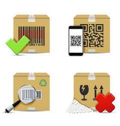 Checking delivery cardboard boxes icons vector