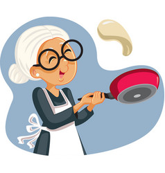 Cheerful grandmother flipping pancakes vector
