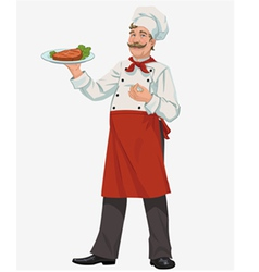 chef with cooked grill steak vector image