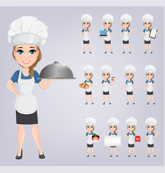 chef woman set cute cartoon character cook eps10 vector image