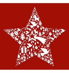 Christmas icon set in star shape vector image