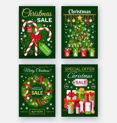 christmas sale discounts on new year posters vector image