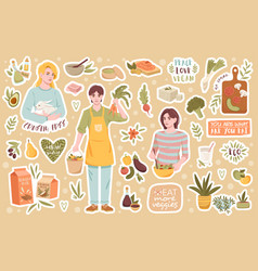 Collection icons for healthy vegan products vector