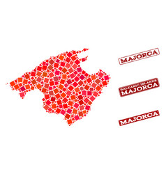 Composition of red mosaic map of majorca and vector