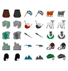Country scotland cartoonmonochrom icons in set vector