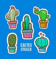 cute cactus cartoon sticker cactus sticker cute vector image