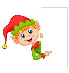 Cute christmas elf cartoon pointing vector image