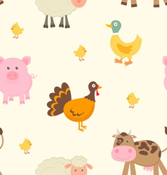 Cute farm animals pattern vector