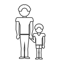 dad and son style outline vector image vector image