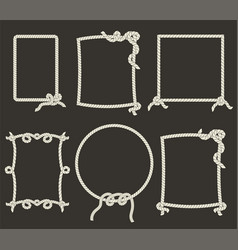 Decorative rope frames on black background vector