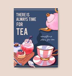 Dessert poster design with tea time jam chocolate vector